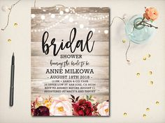 Burgundy Bridal Shower Invitation Maroon Roses Flower