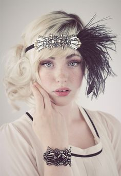 Deco Flapper Feather Headband Antique Silver Beading with Black, Silver Gray or Charcoal Gray Ostrich Feathers by BaroqueAndRoll on Etsy https://www.etsy.com/listing/159361395/deco-flapper-feather-headband-antique