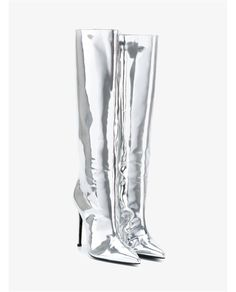 Cheap pointed toe boots, Buy Quality toe boots directly from China pointed toe Suppliers: Women Pointed Toe Boots 2017 Mirror Effect Boots Slip On Sliver Patent Leather Knee High Boots Metallic Leather Shoes Plus Size Silver Boots, Metallic Boots, Metallic Leather, High Heel Boots, Heeled Boots, Shoe Boots, Vans Boots, High Heels, Balenciaga Boots