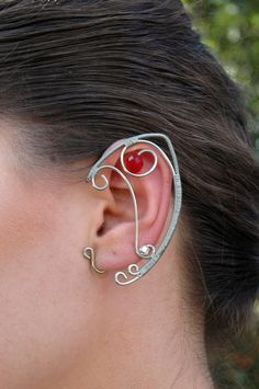 Silver and Red Elven Ear Cuffs