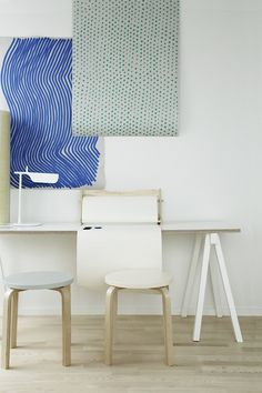 After admiring the first SATO show apartment styled by Helsinki-based interior stylist Susanna Vento earlier this week (and seen here in . Interior Exterior, Interior Architecture, Ikea Stool, Interior Styling, Interior Design, Workspace Design, Desktop Organization, Home Office Space, Blog Deco