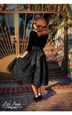 Spanish Capsule Collection Pinup Couture Black Taffeta and Black scallop lace full skirt with black elastic backing and bow detail. | Pinup ...