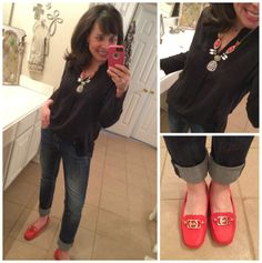 Perfect spring outfit with my new MK moccasins and my MUST HAVE shirt!