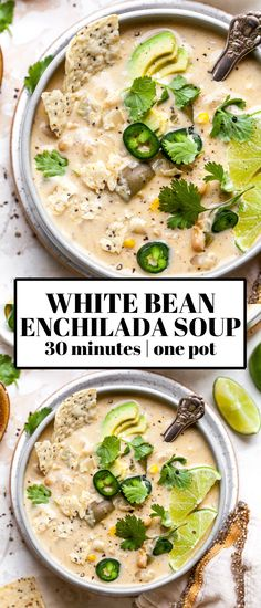 Creamy White Bean Enchilada Soup Creamy White Bean Enchilada Soup with green chiles and corn is the ultimate 30 minute vegetarian soup. Freezer-friendly and great for meal prep or easy weeknight dinner. Tasty Vegetarian Recipes, Veggie Recipes, Mexican Food Recipes, Whole Food Recipes, Cooking Recipes, Healthy Recipes, Easy Vegitarian Dinner Recipes, Health Soup Recipes, Vegetarian White Chili Recipe