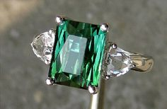 Engagement Ring 3 Carat Green Tourmaline by stevejewelry on Etsy