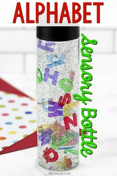 Alphabet Sensory Bottle for Preschool. An easy alphabet sensory bottle you can make for your preschool or pre-k classroom. Make learning the letters of the alphabet fun!