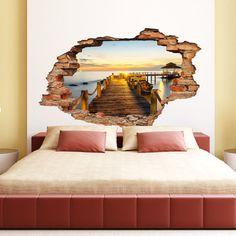 Samoprzylepny zegar The Bridge and the Sunset View | Bonami