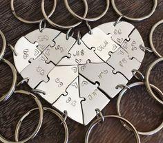 Hand cut engraved #heart #puzzle #keychains, #friendship, #family, #BFF, #thirteen #puzzles, jigsaw, #13 , #wedding, #graduation, farewell, jigsaw by InspiredByBronx on Etsy https://www.etsy.com/listing/518442566/hand-cut-engraved-heart-puzzle-keychains