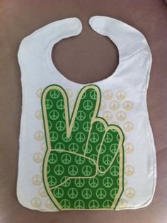 Upcycled TShirt Bib  Green Peace by MnStyle on Etsy, $13.00