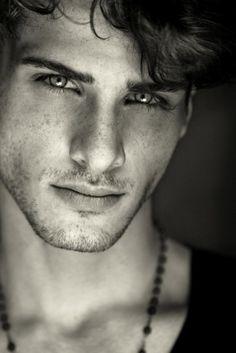 johan. male. man. face. eyes. scruff. beautiful. hair. lips. lovely.  black and white.