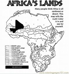 Africa& lands color page afrika - Africa Continent, Africa Map, South Africa, Teaching Geography, World Geography, Geography Lessons, Human Geography, 7th Grade Social Studies, Teaching Social Studies