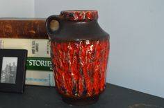 Vintage Carstens Tonnieshof W.Germany Vase Jug Fat Lava Drip by Retrorrific on Etsy Fiery Red, Lava, 1960s, Germany, Pottery, Cool Stuff, Punch, Chips, Vintage