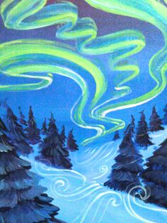 """Northern Lights"" -  #paintnite #YouPinTheyWin"