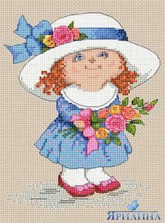 Вышивка крестом схемы девочка с цветами