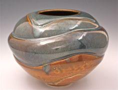Ceramic Altered Wave Vase for Home Decor