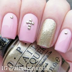 Pink  - gold  - crosses - glitter - studs