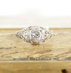 Bought this for myself!!! LOVE-Jackie...vintage heirloom style ring by experimentalvintage on Etsy, $48.00