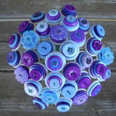 "KottonKandy52""s purple and blue button wedding bouquet centrepiece"