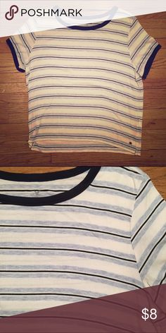 Blue Striped Baby Tee Super cute baby tee from American Eagle! American Eagle Outfitters Tops Tees - Short Sleeve