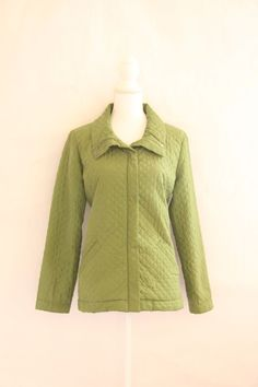 Eileen Fisher Women's Quilted Jacket Coat Sz Medium 100% Silk Solid Green L/S #BananaRepublic #BasicCoat #Casual