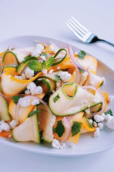 Shaved Summer Squash Salad with Goat Cheese & Mint | bloggingoverthyme.com