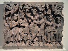 One of four scenes from the life of the Buddha Gandhara (present-day Pakistan), 2d century B.C.E. Stone 67.0 x 290.0 cm. overall Purchase F1949.9a-d Freer Gallery of Art, Smithsonian Institution, Washington, D.C.