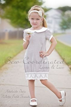 {Sew Coordinated} Special Edition: Linen and Lace -- {Violette Field Threads - Adelaide Dress} vestidos {Sew Coordinated} Special Edition: Linen & Lace Sewing Kids Clothes, Sewing For Kids, Baby Sewing, Diy Clothes, Sewing Kit, Fashion Kids, Baby Girl Fashion, Toddler Fashion, Little Dresses