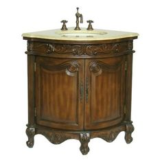 "Chans Oriental Galvez 24"" Antique Single Sink Bathroom Vanity NLQ030-CM at DiscountBathroomVanities.com"