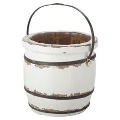 """Transform your home into a lush spring retreat with this garden essential, perfect for showcasing vibrant poppies and cascading ivy.   Product: Barrel bucketConstruction Material: WoodColor: WhiteDimensions: 11"""" H x 12"""" Diameter"""