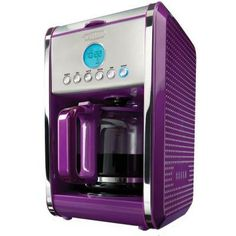 With its unique dot texture, gorgeous colors, and sleek design Bella Dots will bring life to your kitchen and make you smile. No longer must you brew coffee with that same old silver and black box. The Bella Dots Programmable Coffee Machine is unique Purple Home, Purple Bedrooms, Purple Bedding, Purple Kitchen, All Things Purple, Purple Stuff, Orange Things, Purple Reign, Shades Of Purple