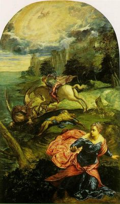 ST. GEORGE & THE DRAGON  by Tintoretto (1558)