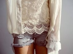 lace and denim.. love to blend my girlie and tough stuff!!