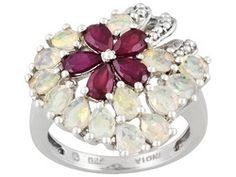 2.88ctw Pear Shape Ethiopian Opal And Mahaleo Ruby Sterling Silver Ring