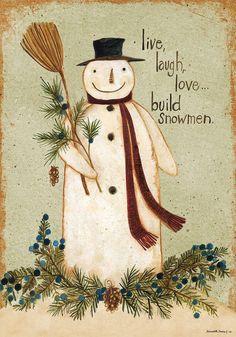 LIVE LAUGH LOVE...BUILD SNOWMEN Primitive WINTER 2 Sided Custom Decor House Flag #CustomDecor