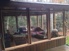 When living is outdoors the sun room becomes the protection from bugs sun  Enclosed for wind rain snow  Cards and board games never end