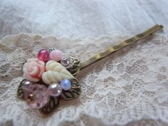handmade    accessory     crafts     beads     hairpin    Bobby Pin  rose