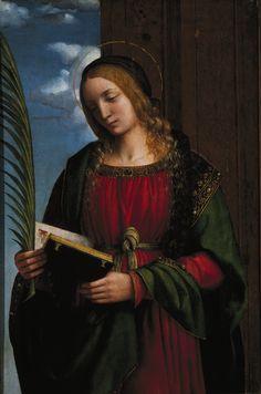 Bernardino Luini | Saint Barbara (1510-1512) | Artsy Renaissance Artists, Renaissance Paintings, Italian Renaissance, Catherine Of Alexandria, Saint Barbara, Saints, Religious Paintings, Classical Art, Western Art