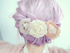 flower crown, lavender hair. Wish I could do this colour without damaging my hair..