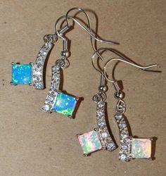 1 PAIR fire opal Cz earrings gemstone silver jewelry chic cocktail drop/dangle
