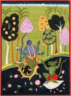 Kailash Raj. Matsyavatara of Shri Vishnu Ji. ... miniature, rendered using classical Basohli idiom of Pahari art ... , represents Lord Vishnu in his incarnation as Matsya or sacred fish. ... Matsyavatara has been variedly narrated in different texts. The Shatpath Brahmana and the Bhagavata Purana relate it to Manu, the Padma Purana to demon Shankhasura, and the Matsya Purana to demon Hayagriva. The artist here has followed the Padma Purana version of it.