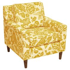 Mustard floral Greta arm chair. <3