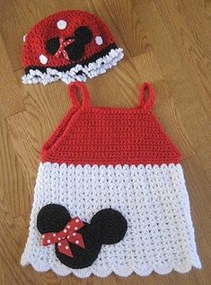 Baby Fashionista: Crochet Disney - Minnie this could be done on any little girls crochet dress.