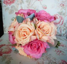 Peach and Pink Rose Bouquet  Silk Wedding Bouquet by KateSaidYes, $140.00