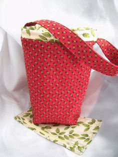Apple red knitting project bag, sock knitters bag, Wip or KIP bag with matching zipper accessory pouch. Take your project with you.