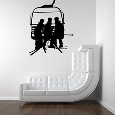 Ski LIft, Seat, Chair Lift, Skiers  - Decal, Sticker, Vinyl, Winter, Wall, Home, Office Decor