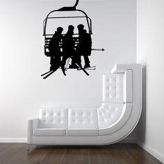 Ski LIft, Seat, Chair Lift, Skiers  - Decal, Sticker, Vinyl, Winter, Wall, Home, Office Decor