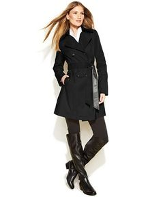 DKNY Double-Breasted Faux-Leather-Trim Trench Coat - Coats - Women - Macy's $99