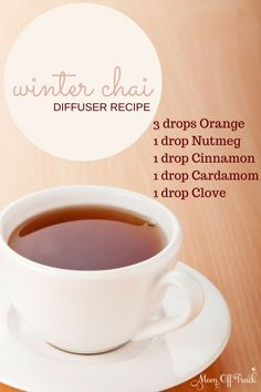 This winter chai diffuser recipe is the perfect blend for snuggling up with a warm blanket and good book. Love it.