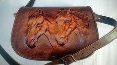Handbags-VINTAGE HANDMADE HAND TOOLED LEATHER HORSE And Floral Shoulder Bag PURS #Handmade #ShoulderBag