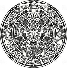 Mandala asteca vetor e ilustração royalty-free royalty-free